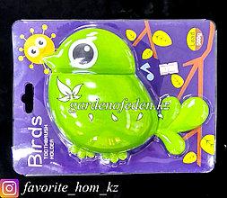 """Держатель для для зубных щеток/пасты, настенный """"Птица"""". Материал: Пластик. Цвет: Зеленый."""