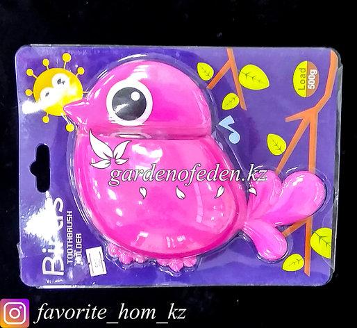 """Держатель для для зубных щеток/пасты, настенный """"Птица"""". Материал: Пластик. Цвет: Розовый., фото 2"""