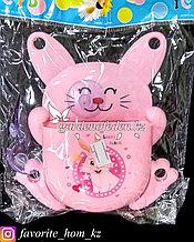 """Держатель для для зубных щеток/пасты, настенный """"Заяц"""". Материал: Пластик. Цвет: Розовый."""