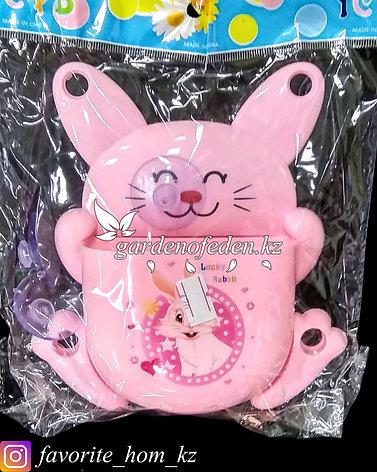"""Держатель для для зубных щеток/пасты, настенный """"Заяц"""". Материал: Пластик. Цвет: Розовый., фото 2"""