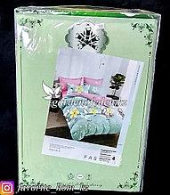 """Комплект постельного белья """"Зеленый Бамбук"""". Декор: Цветы. Цвет: Розовый и Бирюзовый."""