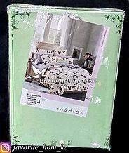 """Комплект постельного белья """"Зеленый Бамбук"""". Декор: Цветы. Цвет: Кремовый и Серый."""