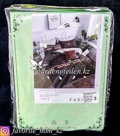 """Комплект постельного белья """"Зеленый Бамбук"""". Декор: Цветные полосы. Цвет: Коричневый., фото 2"""