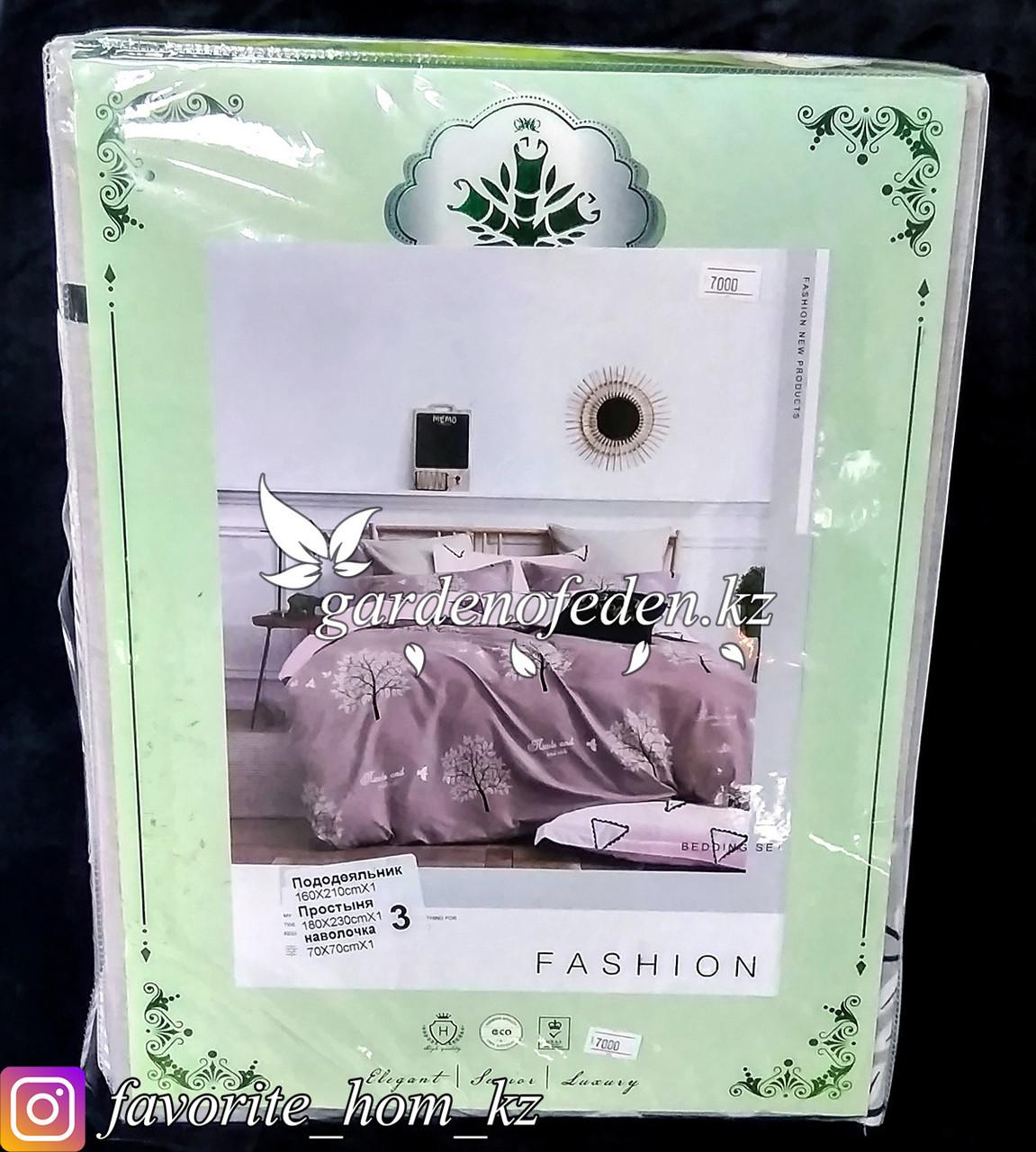 """Комплект постельного белья """"Зеленый Бамбук"""". Декор: Деревья. Цвет: Розовый."""
