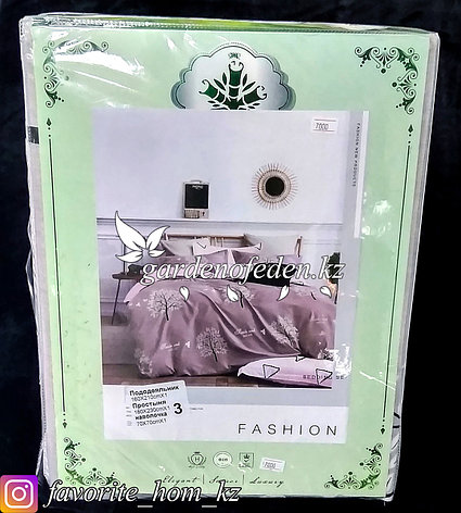 """Комплект постельного белья """"Зеленый Бамбук"""". Декор: Деревья. Цвет: Розовый., фото 2"""