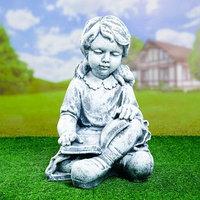 Садовая фигура 'Девочка с книгой' 302843 антик, серый