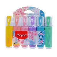 Набор маркеров текстовыделителей 6 цветов 5.0 мм, Maped Fluo Peps Classic, пастельные цвета