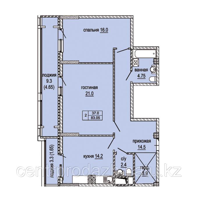 2 комнатная квартира в ЖК  Эльбрус 81.4 м²