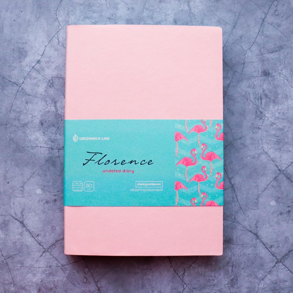 Ежедневник недатированный В6, 160 листов Florence, искусственная кожа, цветной срез, розовый