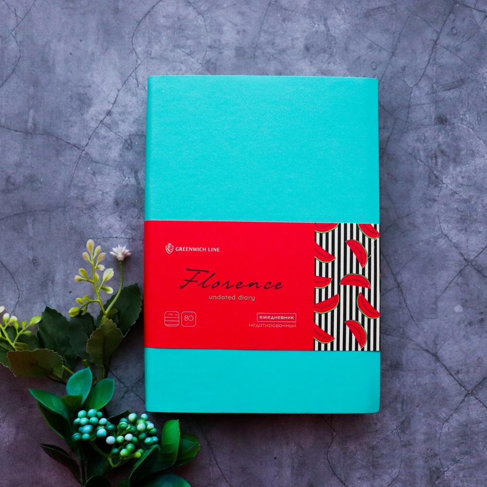 Ежедневник недатированный В6, 160 листов Florence, искусственная кожа, цветной срез, бирюзовый