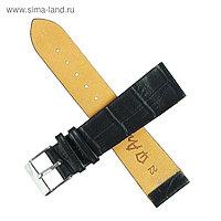 Ремешок для часов, мужской, 22 мм, фактура крокодил, черный
