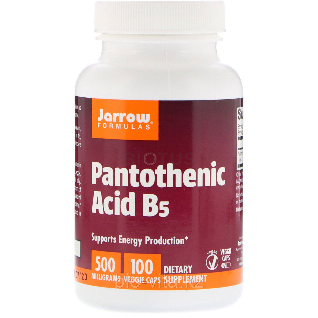 Pantothenic Acid,Пантотеновая кислота Витамин В 5. 500 mg, 100 капсул. Jarrow