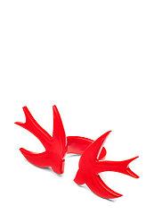 Кольцо Brosh Jewellery Двойная Ласточка ручной работы (акрил, красный)