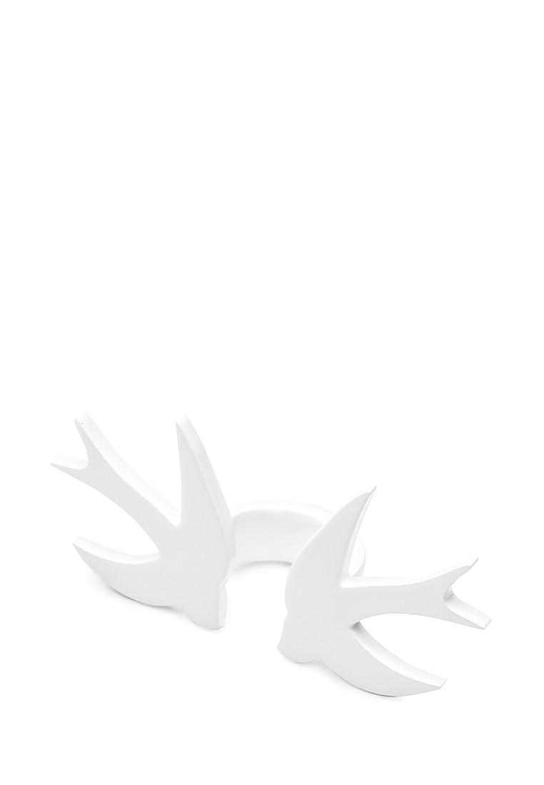 Кольцо Brosh Jewellery Двойная Ласточка ручной работы (акрил, белый)