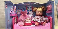 Кукла пупс с аксессуарами, с кроваткой