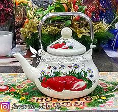 Чайник эмалированный, с декором. Материал: Металл. Цвет: Белый. Объем: 1.5л.