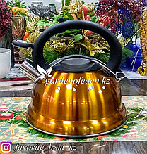 "Чайник металлический, со свистком ""Maibach"". Материал: Металл. Цвет: Оранжевый и Желтый. Объем: 3л."
