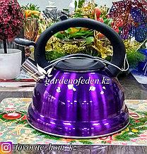 """Чайник металлический, со свистком """"Maibach"""". Материал: Металл. Цвет: Фиолетовый и Сиреневый. Объем: 3л."""