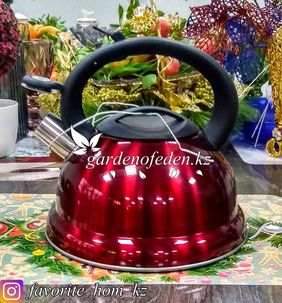 """Чайник металлический, со свистком """"Maibach"""". Материал: Металл. Цвет: Бордовый и Красный. Объем: 3л."""