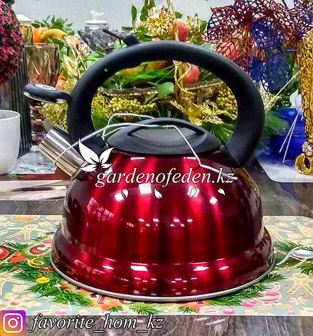 """Чайник металлический, со свистком """"Maibach"""". Материал: Металл. Цвет: Бордовый и Красный. Объем: 3л., фото 2"""