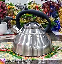 """Чайник металлический, со свистком """"Bekker"""". Материал: Металл. Цвет: Серебряный. Объем: 3л."""