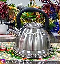 """Чайник металлический, со свистком """"Fissman"""". Материал: Металл. Цвет: Серебряный. Объем: 3.2л."""