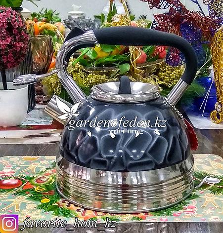 """Чайник металлический, со свистком """"TOPFANN"""". Материал: Металл. Цвет: Серый и Серебряный. Объем: 3л., фото 2"""