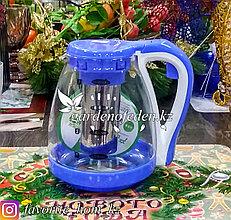 Чайник заварочный, стеклянный. Материал: Стекло. Цвет: Прозрачный и Голубой. Объем: 1.5л.