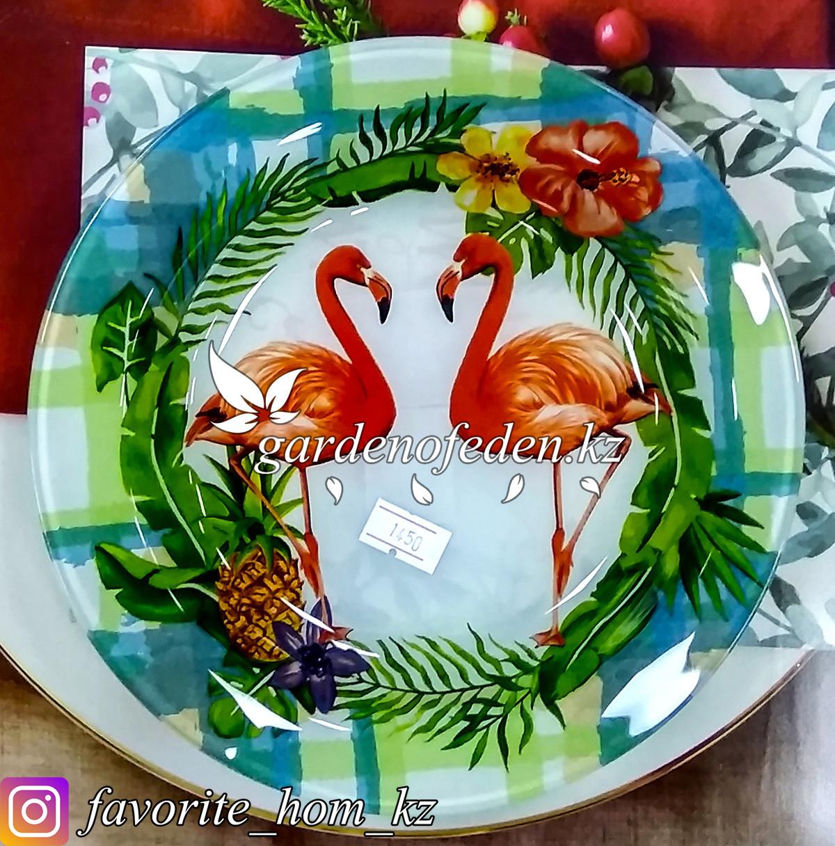 Тарелка обеденная, с узором. Цвет: Разные цвета. Материал: Стекло.