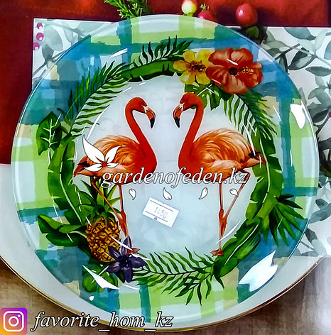 Тарелка обеденная, с узором. Цвет: Разные цвета. Материал: Стекло., фото 2