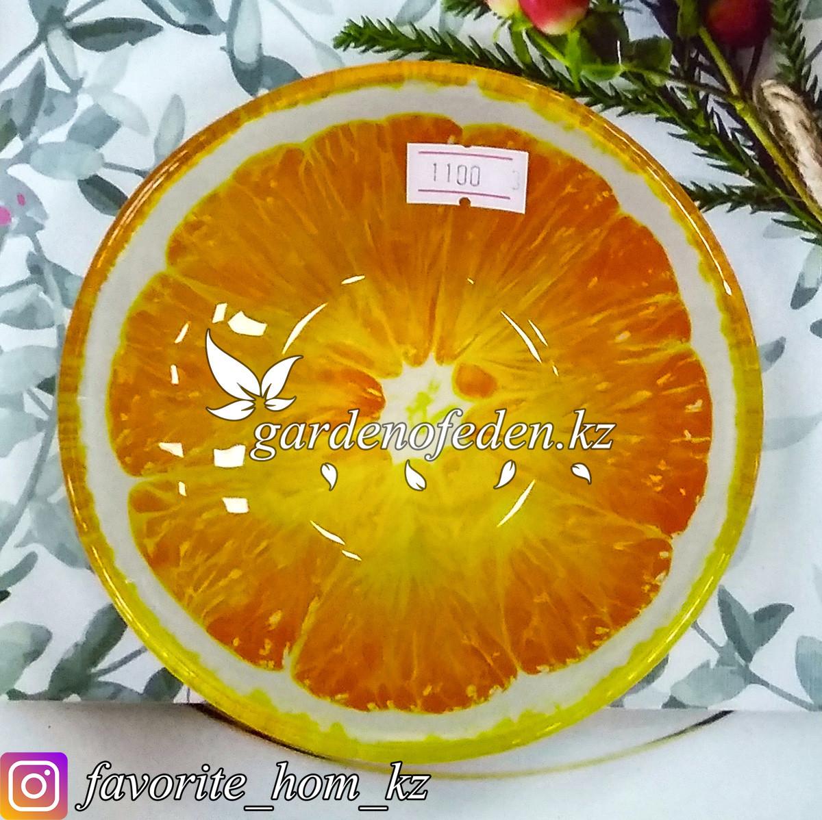 Блюдце стеклянное, с узором. Цвет: Оранжевый. Материал: Стекло.