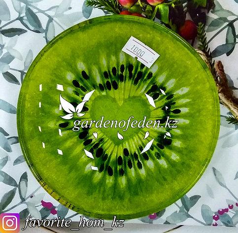 Блюдце стеклянное, с узором. Цвет: Зеленый. Материал: Стекло., фото 2