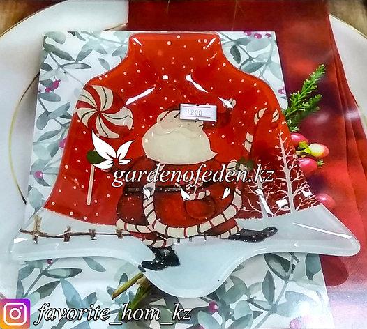Блюдце стеклянное, с новогодним узором. Цвет: Разные цвета. Материал: Стекло., фото 2