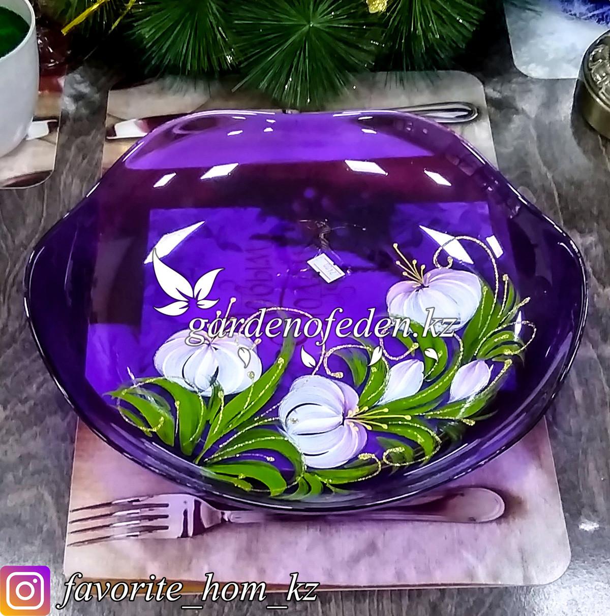 Фруктовница стеклянная, с декором. Цвет: Фиолетовый/Полупрозрачный.