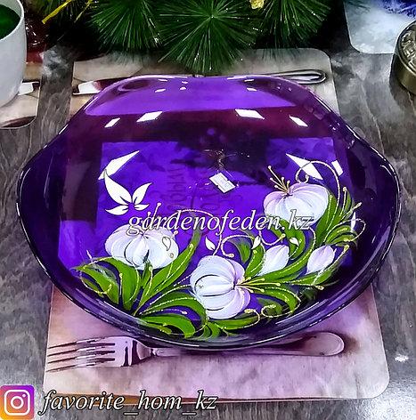 Фруктовница стеклянная, с декором. Цвет: Фиолетовый/Полупрозрачный., фото 2
