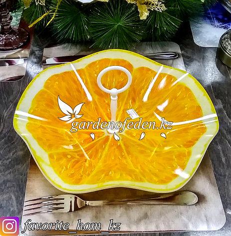 Конфетница стеклянная, с декором. Цвет: Оранжевый/Полупрозрачный., фото 2