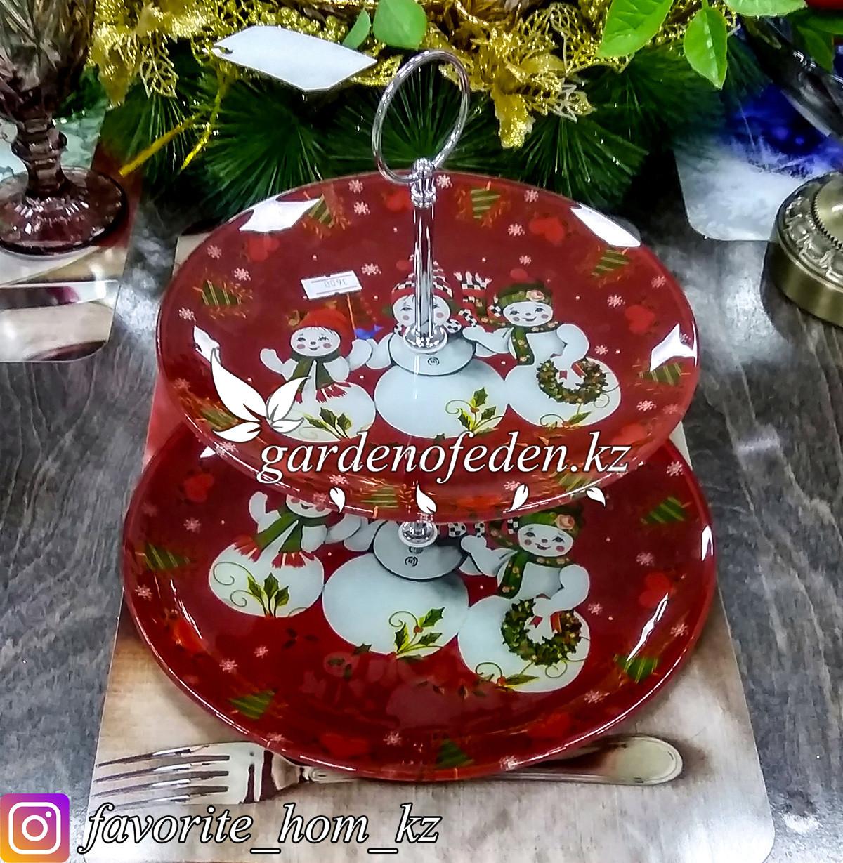 Блюдо двухъярусное, c новогодним декором. Цвет: Бордовый. Материал: Стекло.
