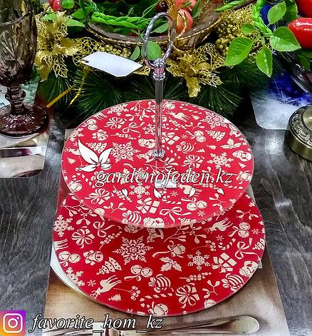 Блюдо двухъярусное, c новогодним декором. Цвет: Красный. Материал: Стекло., фото 2