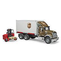 Bruder Игрушечный Грузовик фургон UPS MACK с погрузчиком и паллетами (Брудер 02-828)