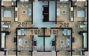 2 комнатная квартира в ЖК Биик Шанырак  71.3 м²