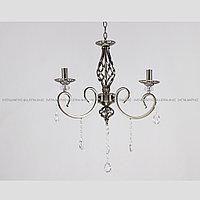 Люстра классическая подвесная на 3 рожка с хрусталем бронзовая