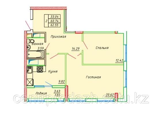 2 комнатная квартира в ЖК Сенатор Парк  62.55 м²