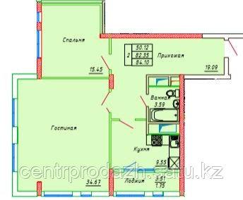 2 комнатная квартира в ЖК Сенатор Парк  84.1 м²
