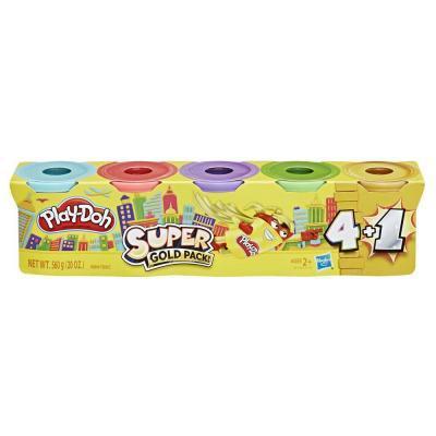 Hasbro Play-Doh Игровой набор из 4 баночек + 1 золотой цвет