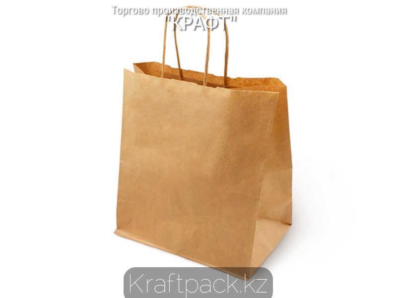 Бумажный пакет из крафт бумаги, бурый с ручкой 70гр 320*180*370 (250 шт/уп)