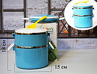 Ланч бокс двойной для еды контейнер пищевой 2 секции в ассортименте JD-9610