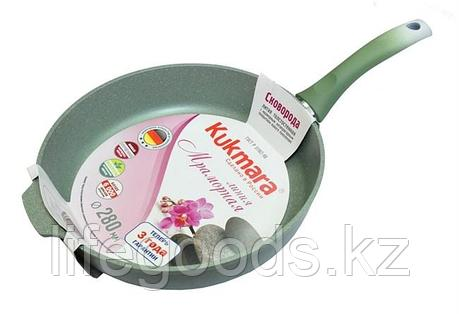 Сковорода 280/65мм с антипригарным покрытием (фисташковый мрамор) с ручкой смф281а, фото 2