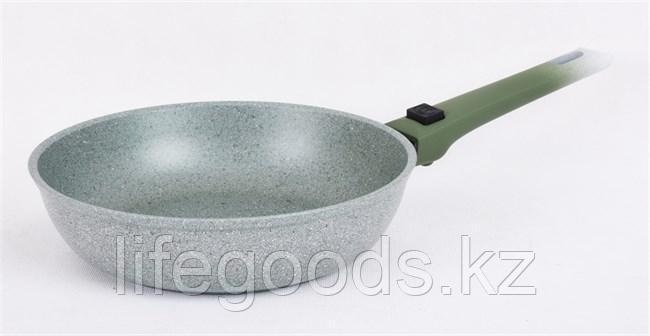 Сковорода 240/60мм с антипригарным покрытием (фисташковый мрамор) со съемной ручкой soft touch смф247а
