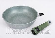 Сковорода 240/60мм с антипригарным покрытием (фисташковый мрамор) со съемной ручкой soft touch смф247а, фото 2