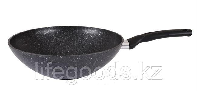 Сковорода WOK 300/100мм с антипригарным покрытием (темный мрамор) с ручкой свкмт300а, фото 2